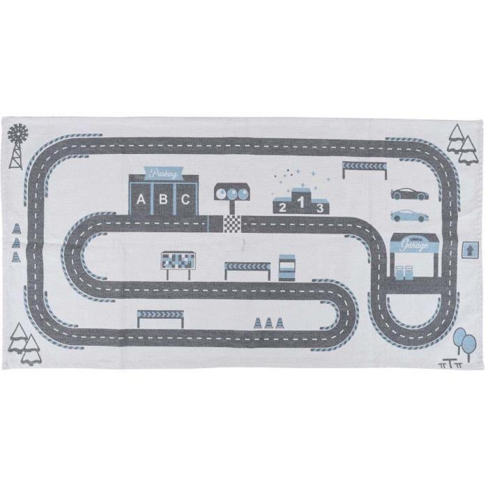 Home Deco Kids TX9046 Tapis rectangulaire Enfant Circuit de voitures Blanc gris et bleu Coton H0,5 x 70 x 140 cm