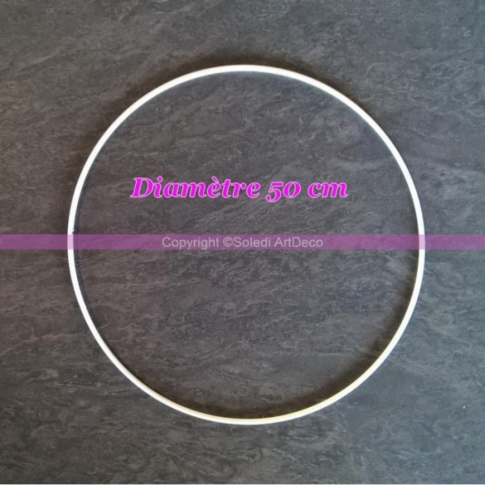 Grand Cercle métallique blanc diam. 50 cm pour abat-jour, Anneau epoxy blanc Attrape rêves - Unique