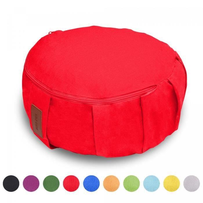 GORILLA SPORTS coussin de méditation rouge - Hauteur d'assise 18 cm - coussin de yoga avec rembourrage en balles d'épeautre -