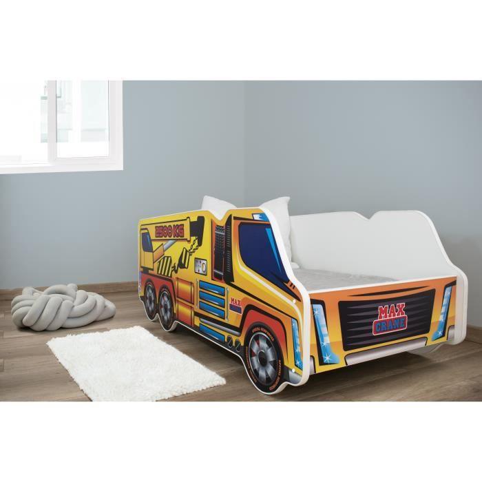 TRUCK - Lit d'enfant motif camion grue - 140x70cm - Lit + matelas + sommier - Meubles chambre d'enfant