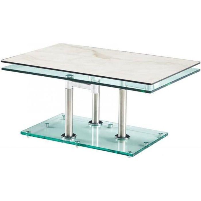 Table basse MATCH CERAMIQUE MARBLE 2 plateaux pivotants en verre piétement chrome blanc Marbre Inside75