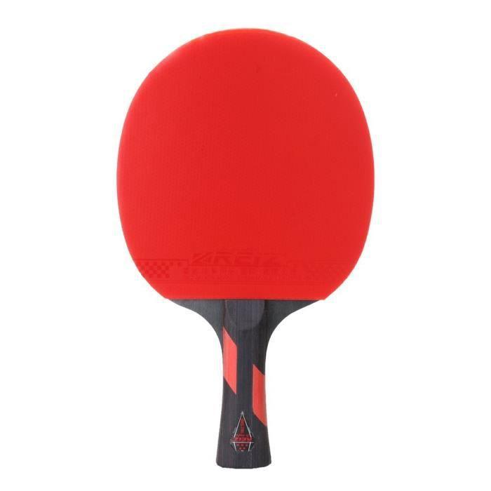 REIZ 5 Stars Raquette de tennis de table Ping Pong Paddle Match Training Raquette, rouge et noir, courte