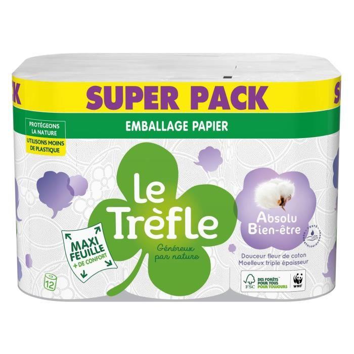 Le Trèfle® Maxi Feuille Absolu Bien-être x12 rouleaux - Emballage papier