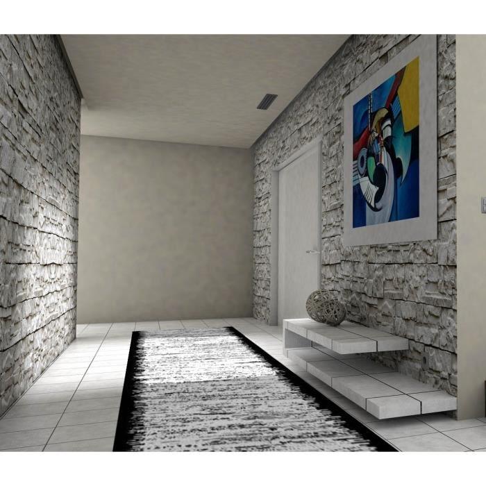 Tapis de couloir Gris bord Noir 80x300cm
