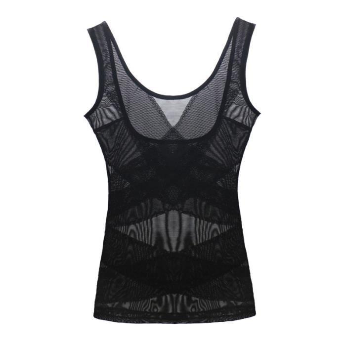 Sous-vêtements minceur correcteurs de couleur noire pour femmes TOP DE COMPRESSION - T-SHIRT DE COMPRESSION