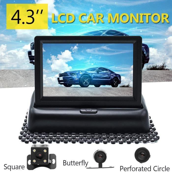 WINKSOAR Kit 4.3″ Caméra Recul Écran LCD Moniteur Vue Arriere Pliable Sans Fils Auto Round
