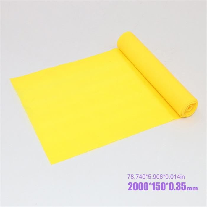 2000 * 150 * 0,35 mm Bande de Résistance Élastique jaune pour Rééducation Exercices-Musculation-Pilates-Yoga