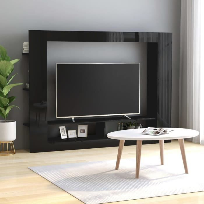 Meuble TV Noir brillant 152x22x113 cm Aggloméré