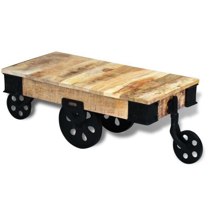 vidal XL Table basse design scandinave salon contemporain avec roues Bois de manguier brut