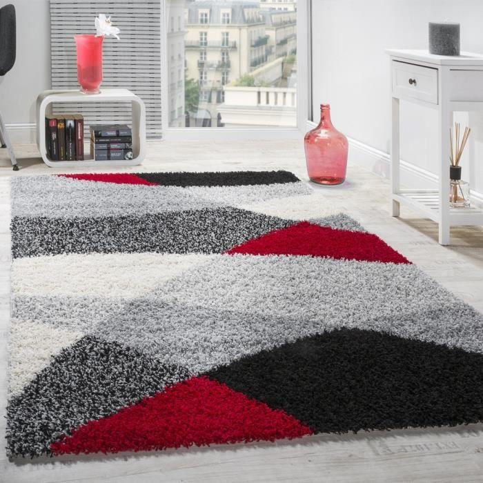 Tapis Shaggy - Longues mèches Hautes - Motifs gris, noir, blanc et rouge