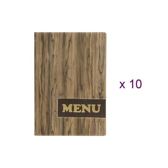Lot de 10 protège-menus design format A4 effet bois Wood - Hôtel - Restaurant 7 Marron