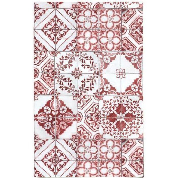 TOODOO - Tapis motifs carreaux de ciment rouge 45x75