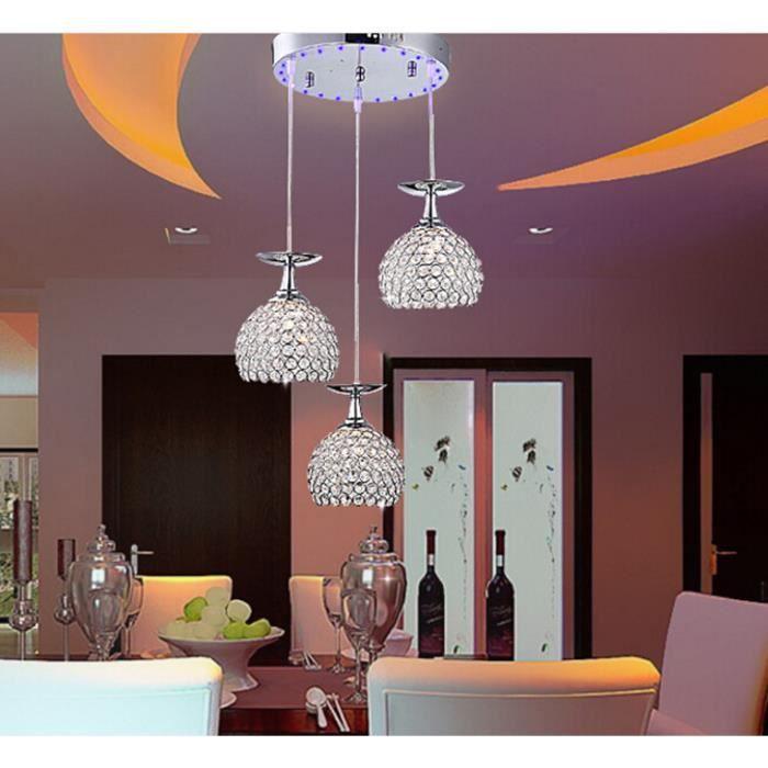 Lustre Cristal 3 Ampoules LED, Verre Renversé Bar. Livraison sans ampoule, Diamètre:150MM, H: 100CM. Hauteur réglable:0.8m. Maté...