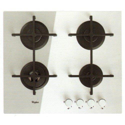 Whirlpool Goa 6423-WH Plaque - Plaque (intégré, gaz, verre, rotatif, partie supérieure avant, 230 V) Blanc