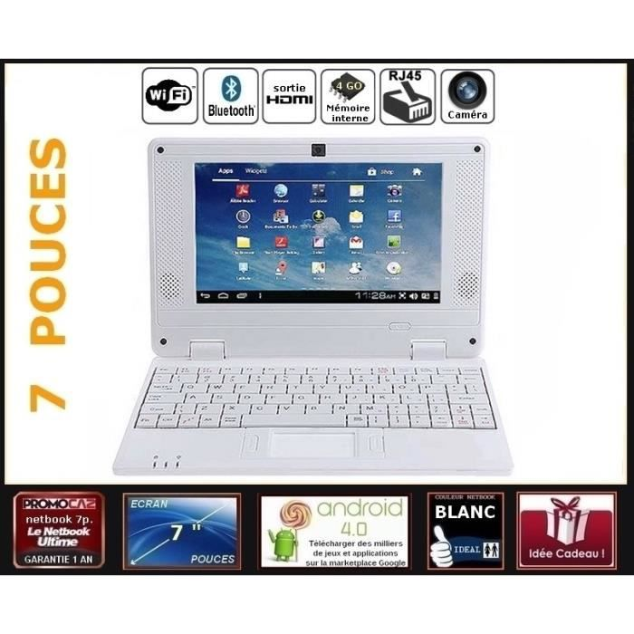 netbook blanc cran 7 pouces android 4 0 wifi 4go. Black Bedroom Furniture Sets. Home Design Ideas