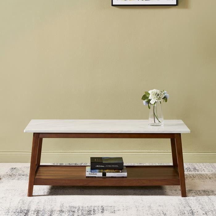 Table basse de salon en bois faux marbre moderne style contemporain  Versanora Kingston VNF-00061
