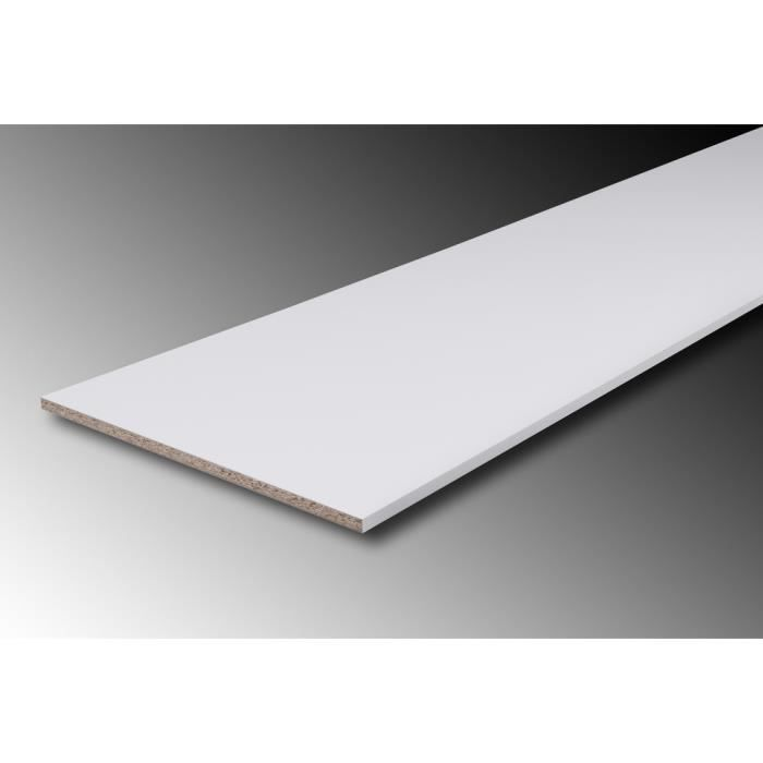 Tablette m lamin 18mm 2 50 x 0 500m blanc perle achat for Tablette prepercee en melamine