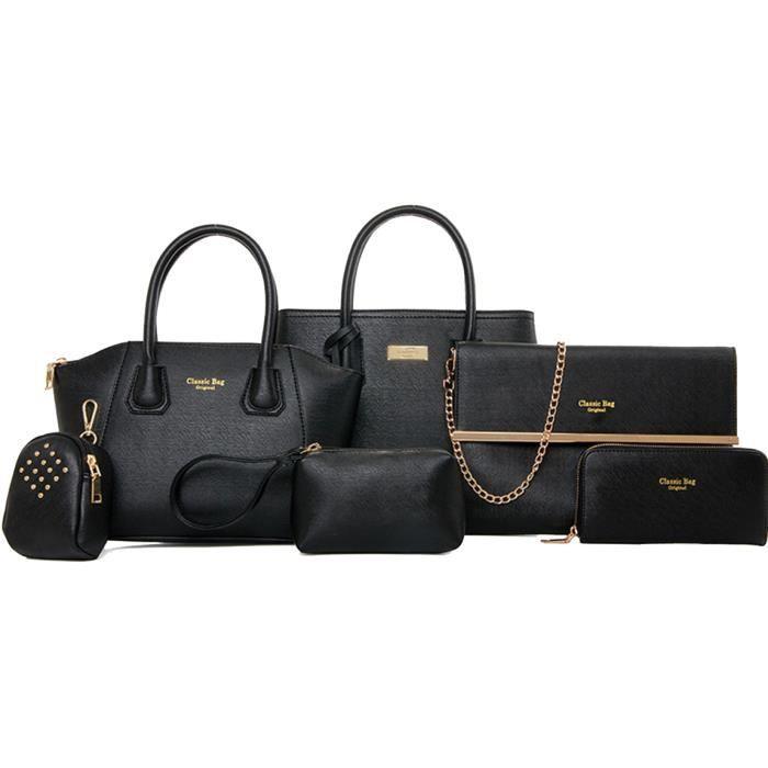 lot de 6 sacs a main noir