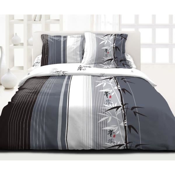 housse de couette 220x240 cm microfibre ressort 2 taies. Black Bedroom Furniture Sets. Home Design Ideas