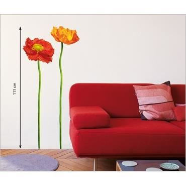 stickers muraux fleur 2 pavots i 2 planches achat vente stickers cdiscount. Black Bedroom Furniture Sets. Home Design Ideas