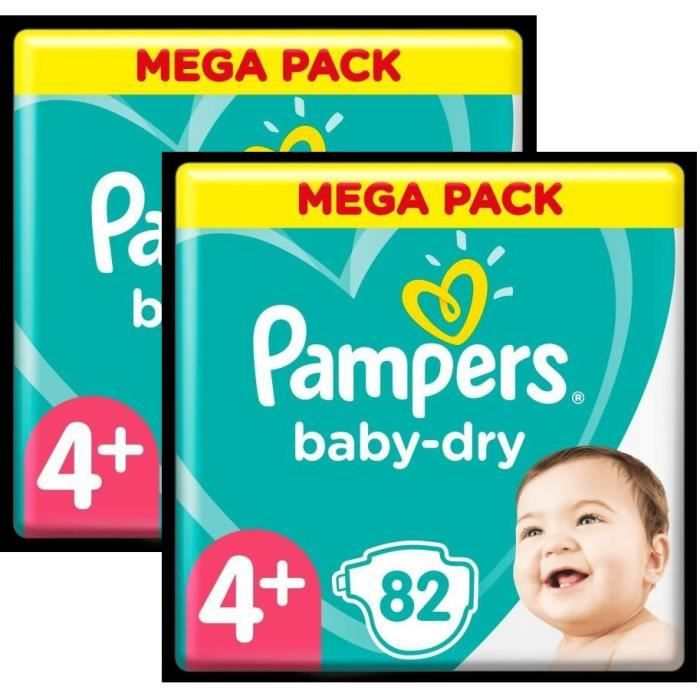 COUCHE Pampers Baby-Dry T4+ - Lot de 2 - 164 Couches