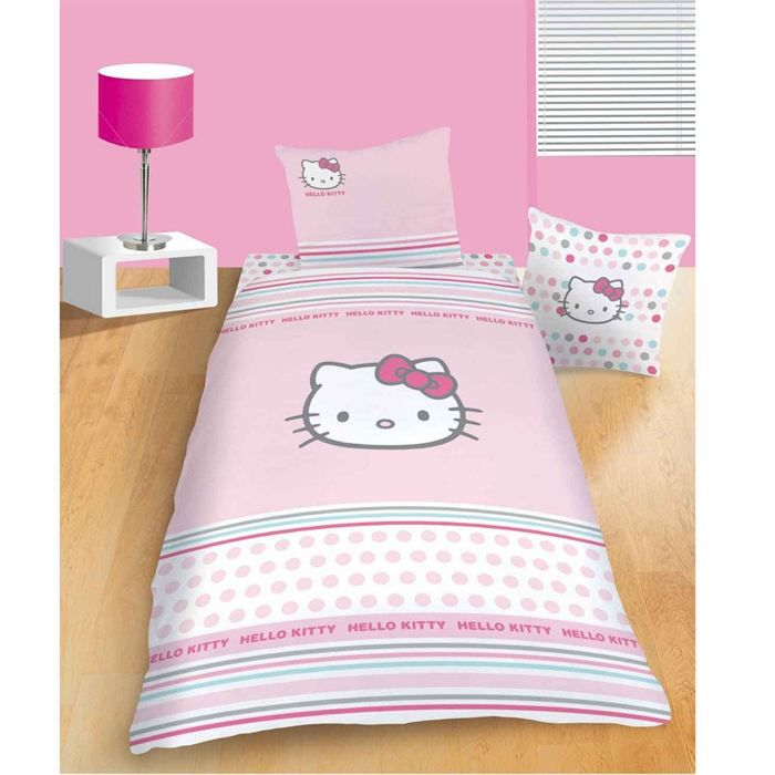 parure de couette hello kitty pretty 140x200 achat vente housse de couette cdiscount. Black Bedroom Furniture Sets. Home Design Ideas