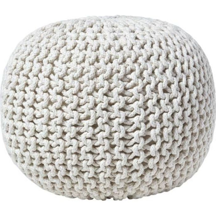 pouf en tricot rond blanc cass achat vente pouf poire cdiscount. Black Bedroom Furniture Sets. Home Design Ideas