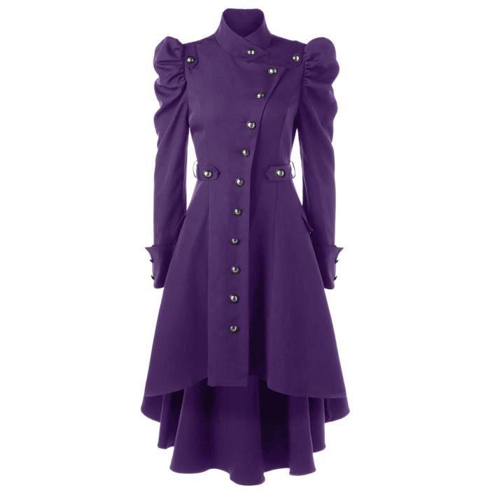 Long à Capuche Violet velours de coton manteau court violet Manteau