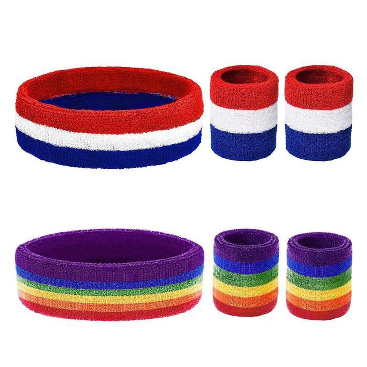 Blanc sweatbands bracelets /& headbands 1 x tête et 2 x Poignet Sueur Bandes Band