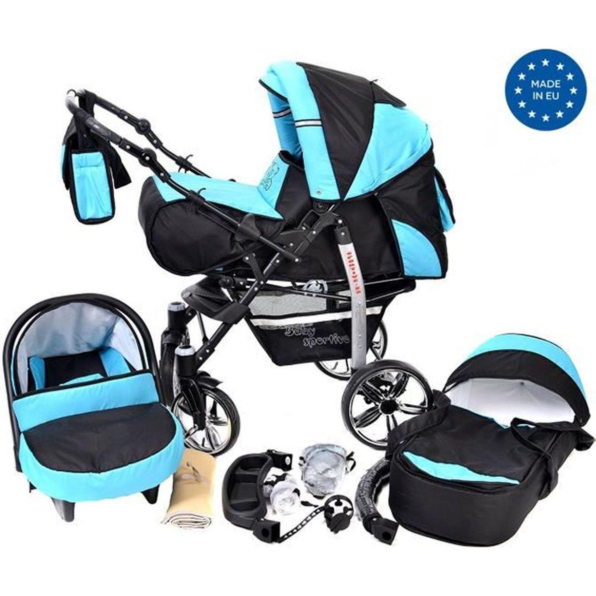 Noir avec Bleu Poussette - Landau 3en1 avec siège auto - ROUES