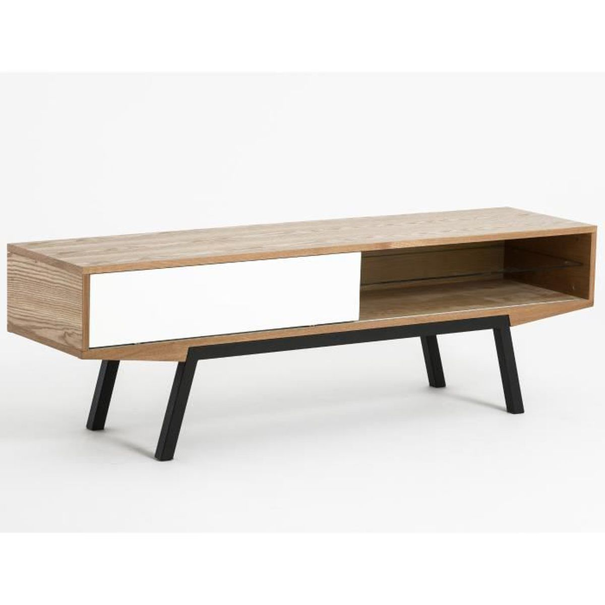 meuble tv design scandinave artat fr ne et blanc 160 cm achat vente meuble tv meuble tv. Black Bedroom Furniture Sets. Home Design Ideas