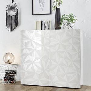 MEUBLE TV Buffet haut blanc laqué design avec sérigraphies P