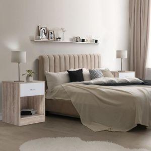 CHEVET Lot de 2 tables de chevet bois façon hêtre tiroir