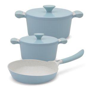 COCOTTE Cocotte et poêle Pack bleu 2 casseroles UMA + 1 ca