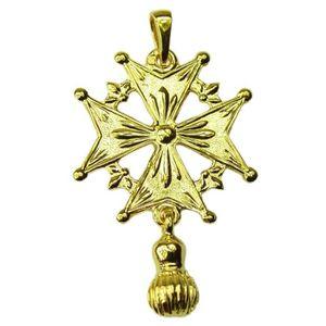 PENDENTIF VENDU SEUL Croix Huguenote du Dauphiné Réversible Or 18-cts