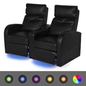fauteuil vidaxl fauteuil inclinable led 2 places cuir art - Fauteuil Home Cinema