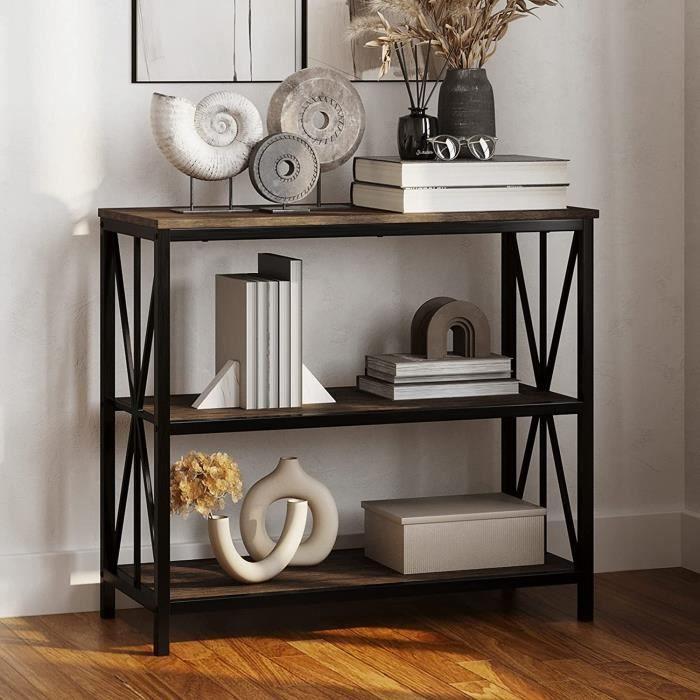 Aingoo console, meuble d'entrée - 3 niches - Jamble en métal noir - Style industriel - L 90 cm