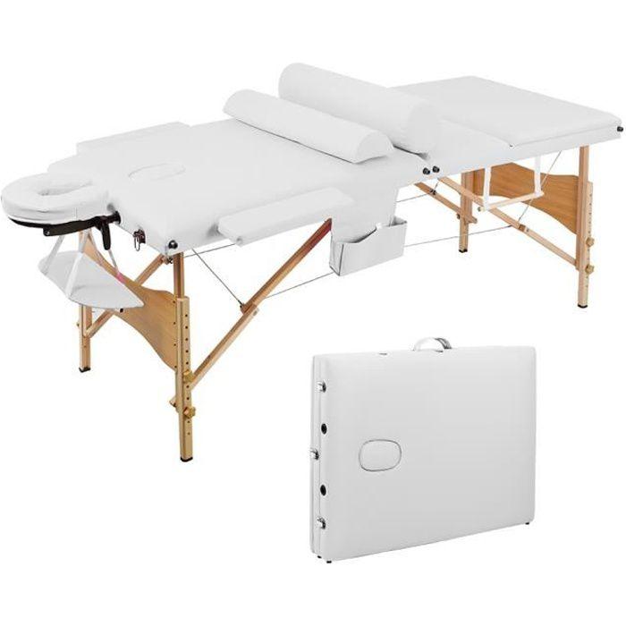 Table de massage mobile - table de thérapie pliante lit de massage portable table de massage légère 3 zones avec pieds en bois blanc