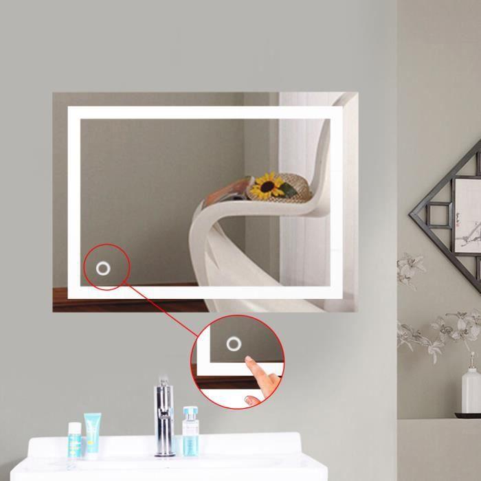 Design Miroir Mural Miroir Lumineux à LED pour Salle de Bain (50*70 cm Blanc Froid) @ZR