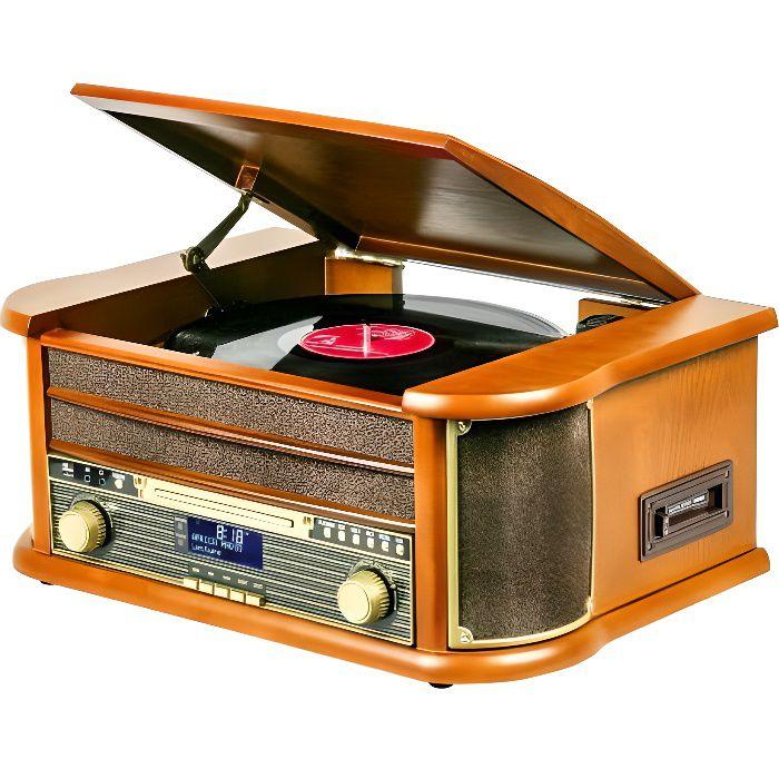 Platine Disque Vinyle Vintage BOIS avec Radio Bluetooth /FM/USB/RCA/AUX/Télécommande/Lecteur CD/Cassette Platine Vinyle
