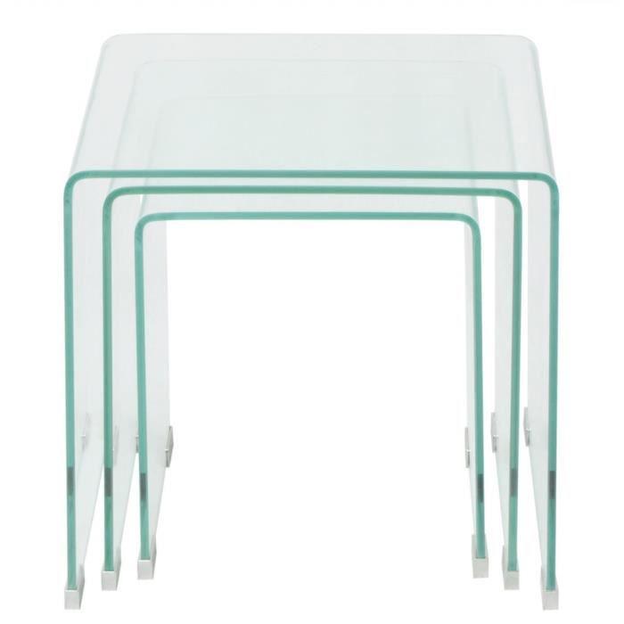 Tables basses Ensemble de tables gigognes 3 Pieces Verre trempe Transparent