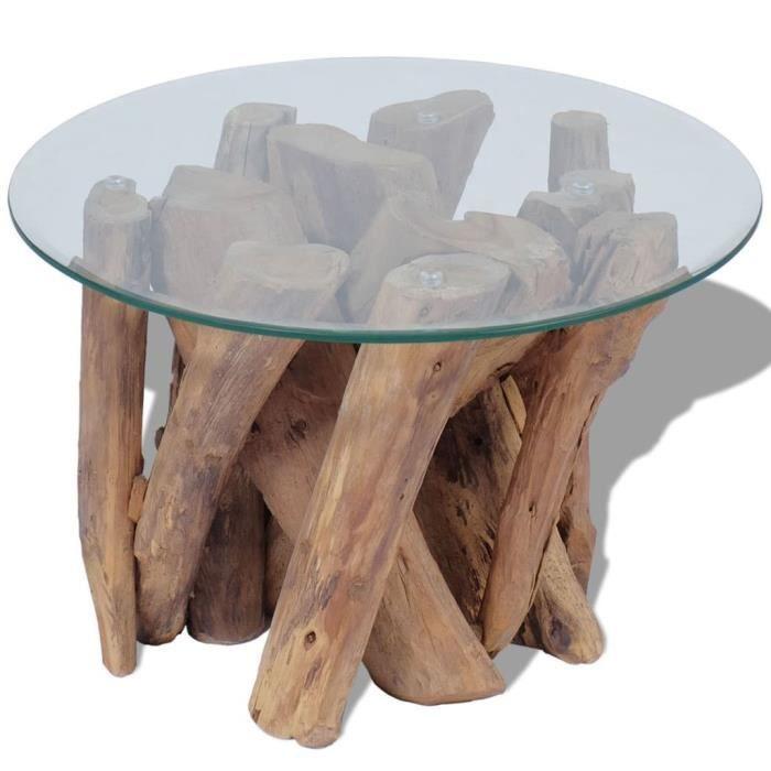 Table basse Teck massif 50x40 cm - base en bois flotté teck massif + dessus de table en verre trempé