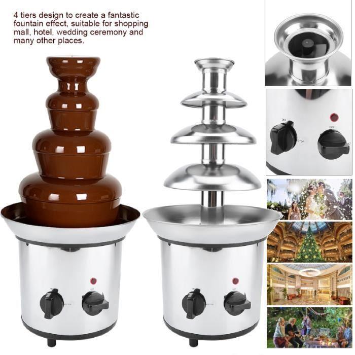 4 Cascades Fontaine de Chocolat Professionnelle Commercia en Acier Inoxydable 2000 Watt Fontaine à chocolat électrique