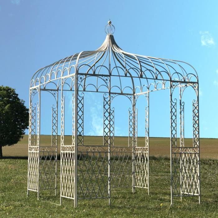 Tonnelle Gloriette Pergola Carrée Fer Métal Blanche de Jardin 220 cm x 220 cm x 300 cm - 14304-Gloriette-BIS
