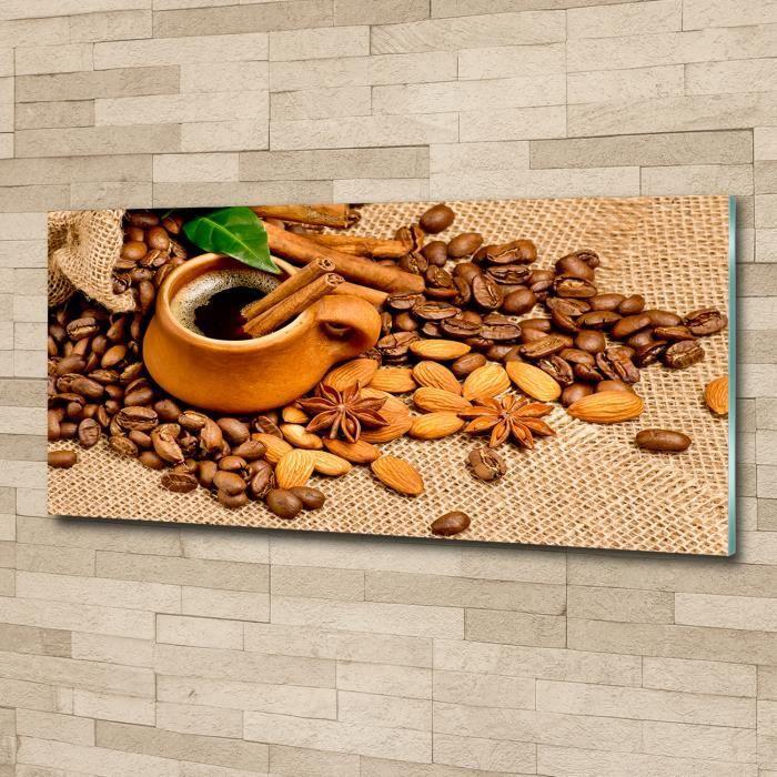 Tulup 125x50cm Tableau sur verre acrylique- Nourriture boissons - Grains De Café Une Tasse - Brun
