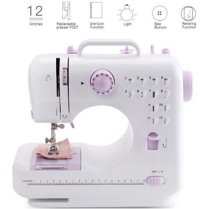 LEXLIFE Machine à coudre Couture Ligne - 2 Vitesses - 12 motifs de points - Machine à Coudre électronique Multifonction avec lampe