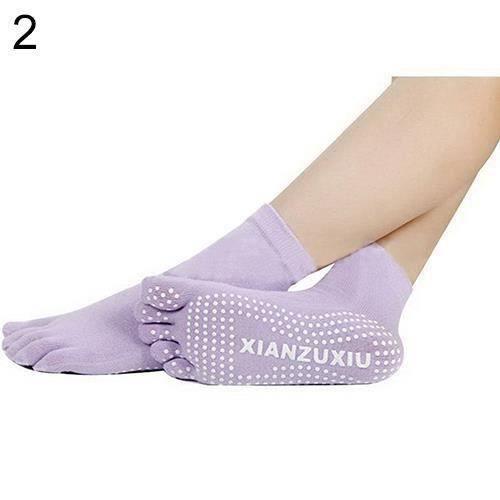 BH Femmes 5 Toes Yoga Gym Danse Sport Exercice Non Glissement Massage Fitness Chaussettes Chaudes Violet Clair - BHBDH824A4364