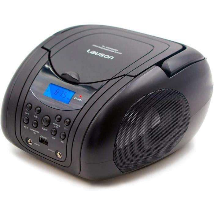 Lauson MX19 Boombox Lecteur CD Portable avec USB - Lecteur CD MP3 - Lecteur CD Portable - Tuner Radio FM - Casque CD Boombox USB, AU