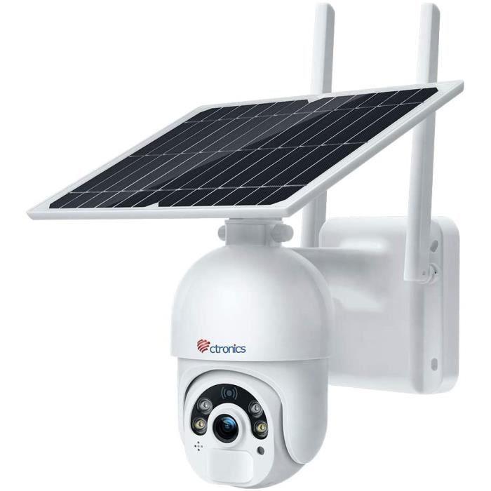 CAMERA IP Cam&eacutera Surveillance Solaire WiFi avec Panneau Solaire Ctronics Cam&eacutera IP sans Fil Ext&eacuterieure sur 43