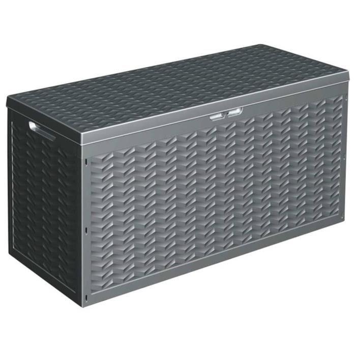 Boîte de rangement jardin - 120X45X60 cm - 320 litres - Gris